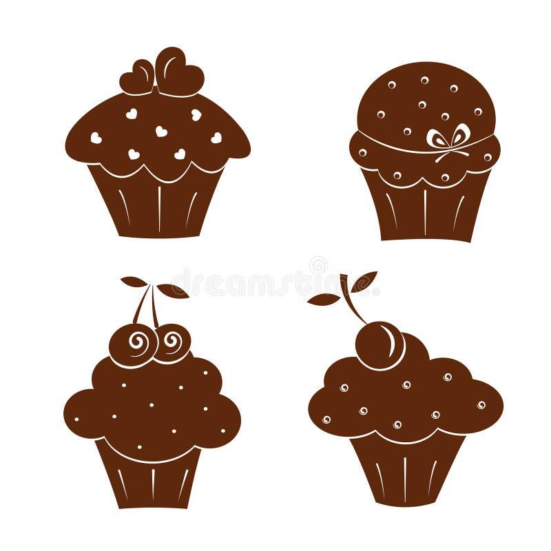 Iconos de la torta stock de ilustración