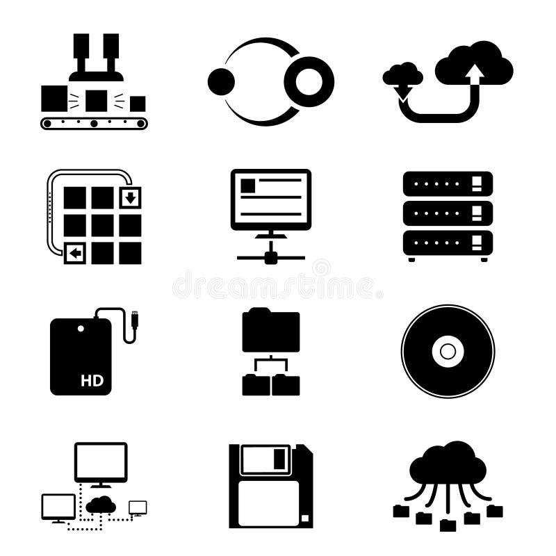 Iconos de la transferencia del almacenamiento y de datos en blanco ilustración del vector
