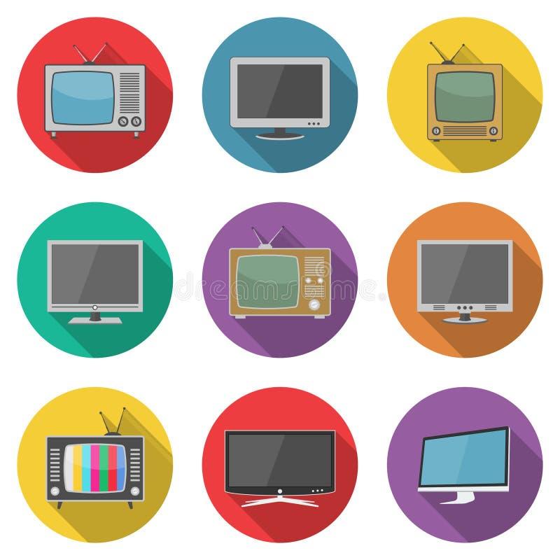 Iconos de la TV en estilo plano del diseño ilustración del vector
