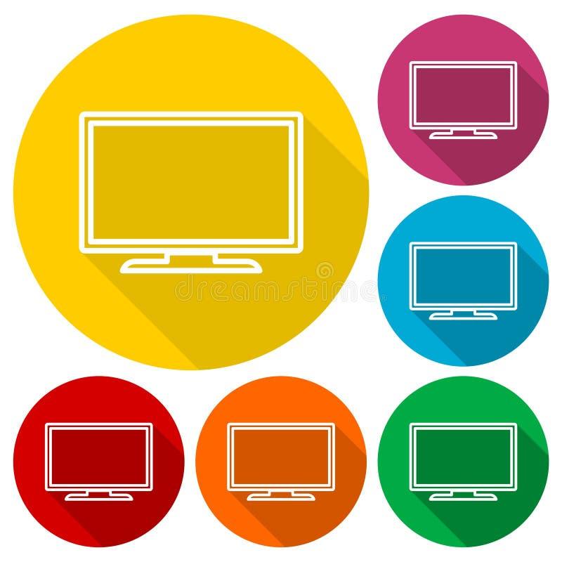 Iconos de la TV fijados con la sombra larga ilustración del vector