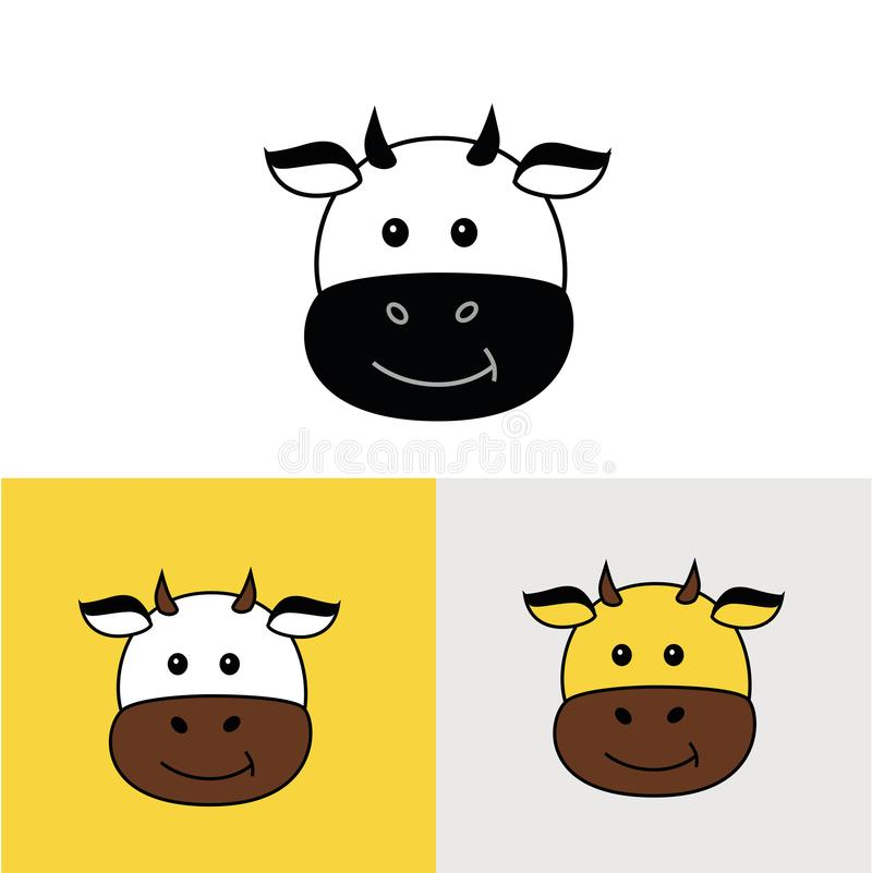Iconos de la vaca Sistema del vector de vacas stock de ilustración