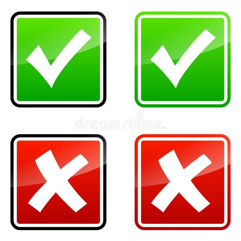 Iconos de la validación ilustración del vector