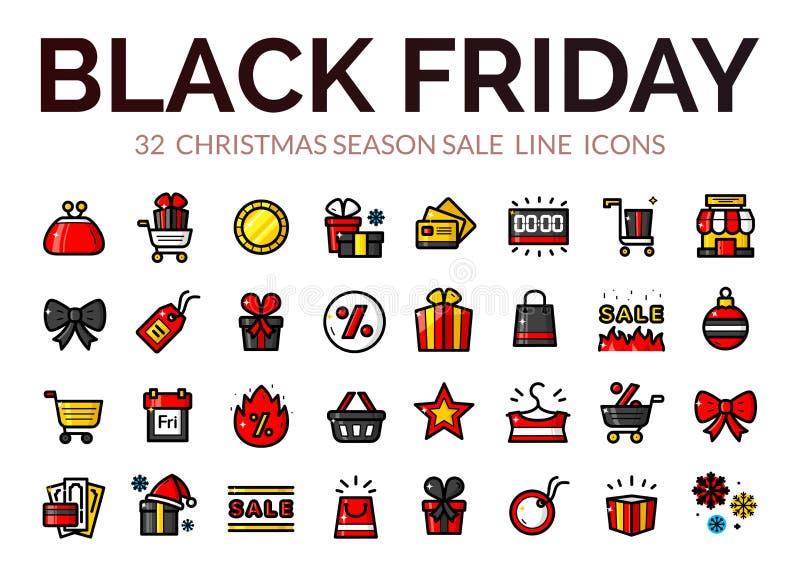 Iconos de la venta de Black Friday, ejemplo del vector ilustración del vector