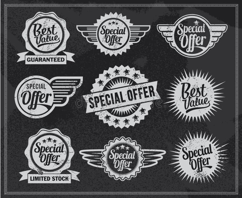 Iconos de la venta de la pizarra del vintage Sistema del diseño del vector ilustración del vector