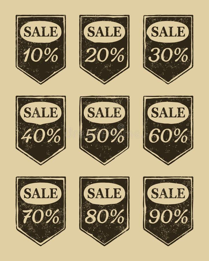 Iconos de la venta de la vendimia fijados ilustración del vector