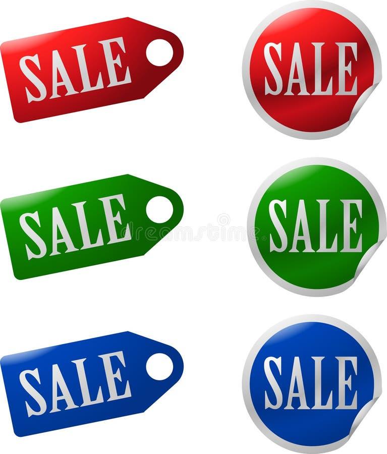 Iconos de la venta fijados stock de ilustración