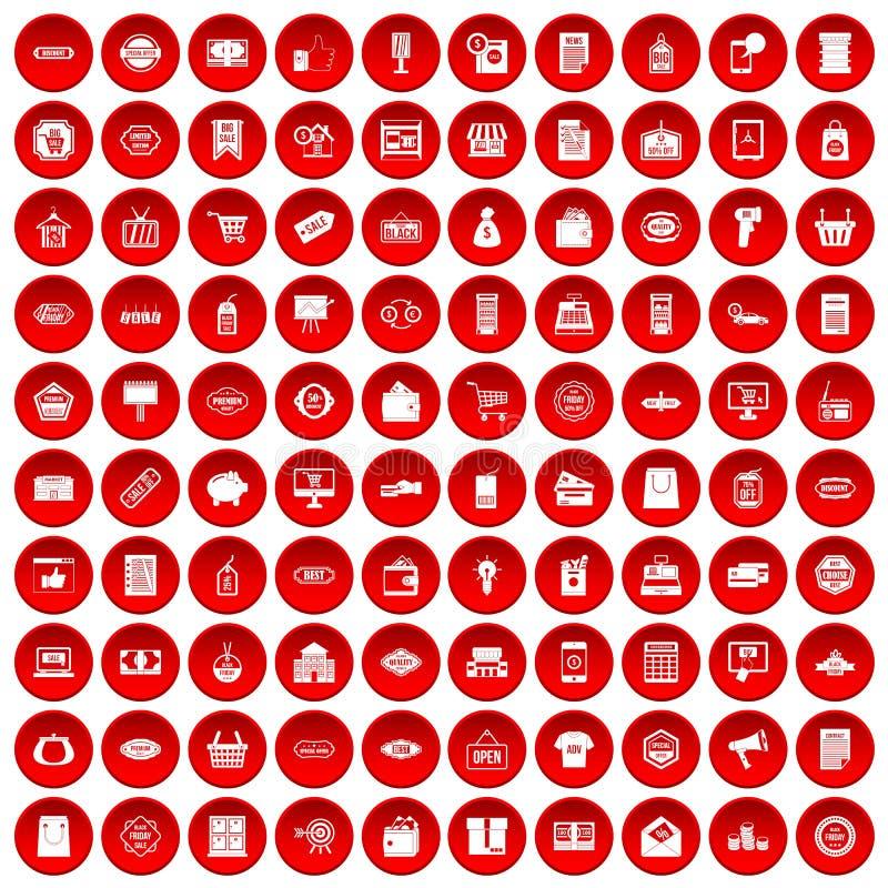 100 iconos de la venta fijados rojos libre illustration