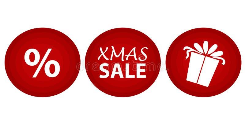 Iconos de la venta de la Navidad sobre fondo rojo Iconos planos Limpie el diseño Iconos del vector libre illustration