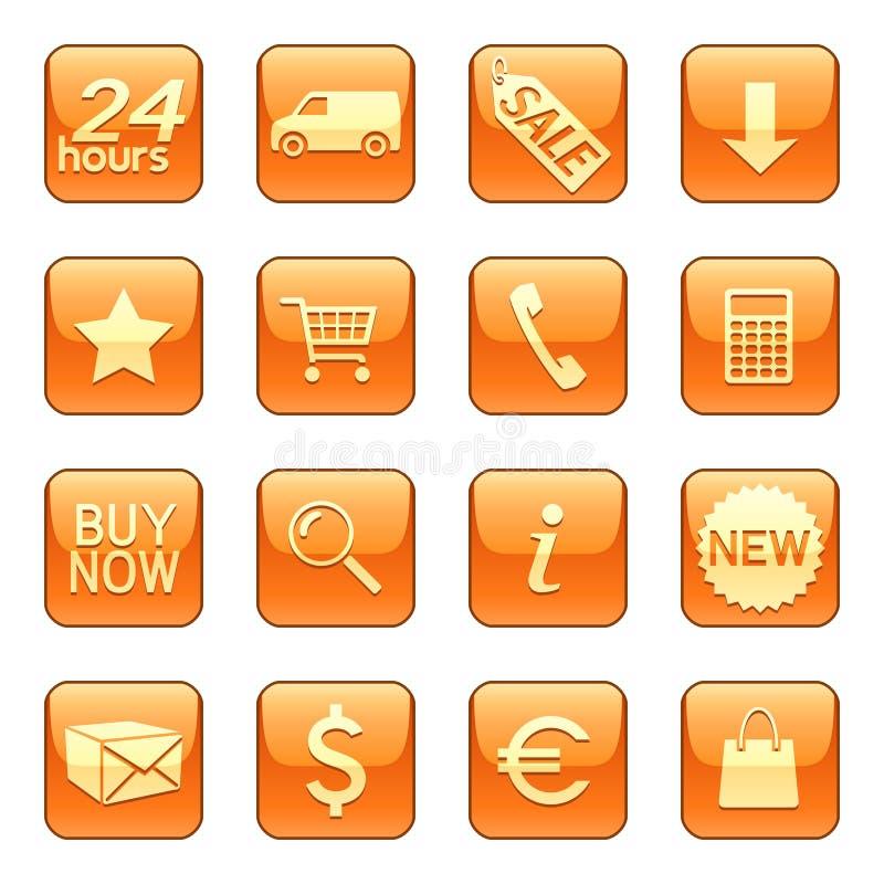 Iconos de la venta y de la salida libre illustration