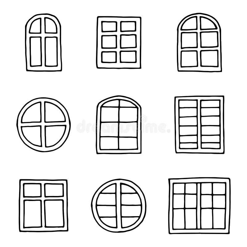 Iconos de la ventana fijados objeto de dibujo de la mano en el aislamiento libre illustration