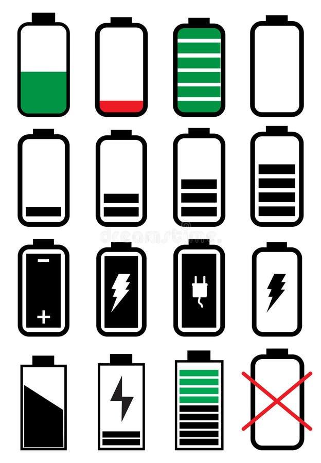 Iconos de la vida de batería fijados ilustración del vector