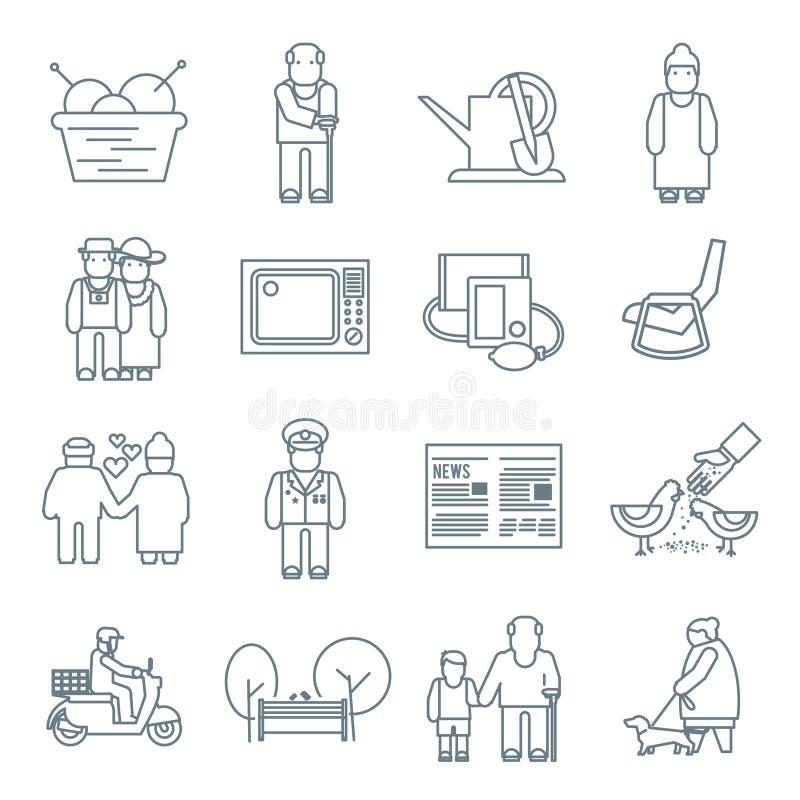 Iconos de la vida de los pensionistas ilustración del vector