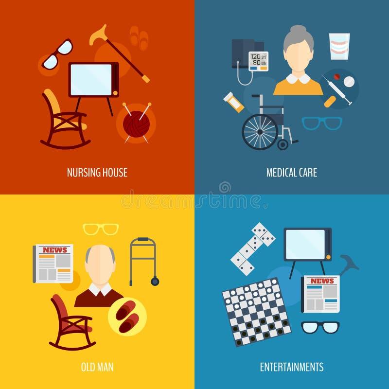Iconos de la vida de los pensionistas planos ilustración del vector