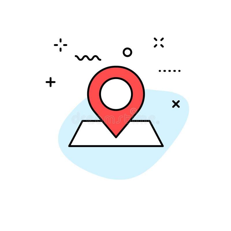 Iconos de la web de la entrega y de la logística en la línea estilo Mensajero, envío, envío express, siguiendo orden, ayuda, nego stock de ilustración