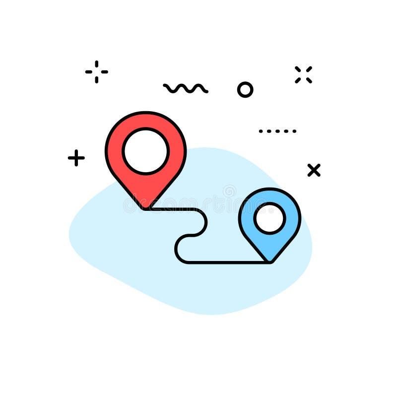 Iconos de la web de la entrega y de la logística en la línea estilo Mensajero, envío, envío express, siguiendo orden, ayuda, nego ilustración del vector