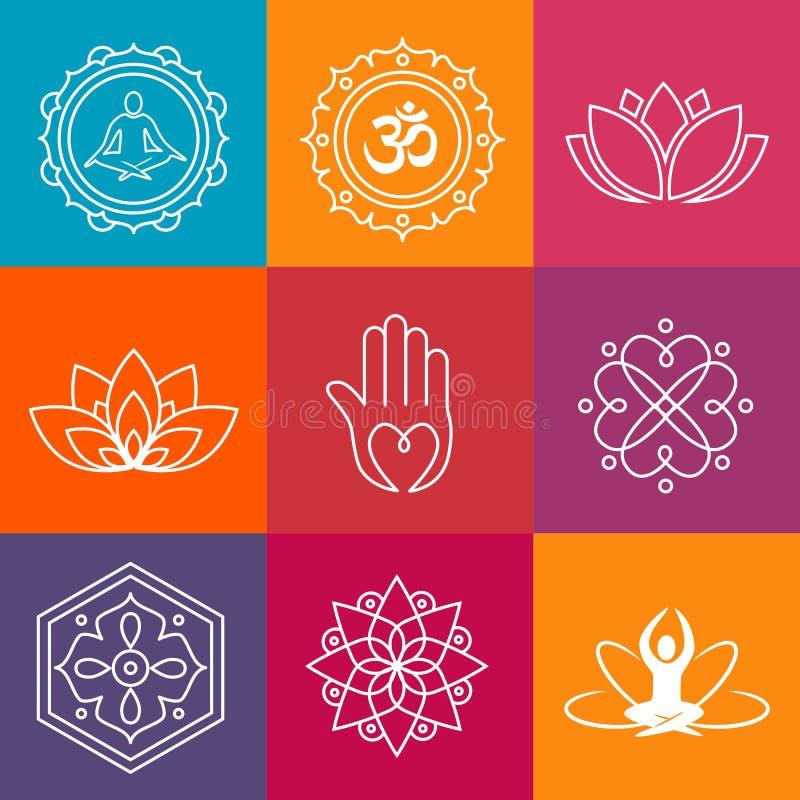 Iconos de la yoga stock de ilustración