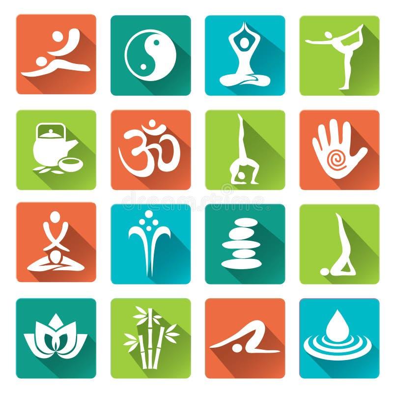 Iconos de la yoga del balneario del masaje con la sombra larga ilustración del vector