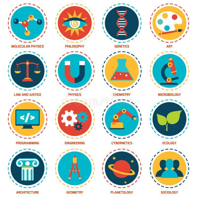 Iconos de las áreas de la ciencia stock de ilustración