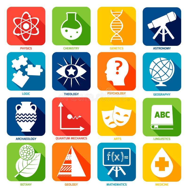 Iconos de las áreas de la ciencia ilustración del vector