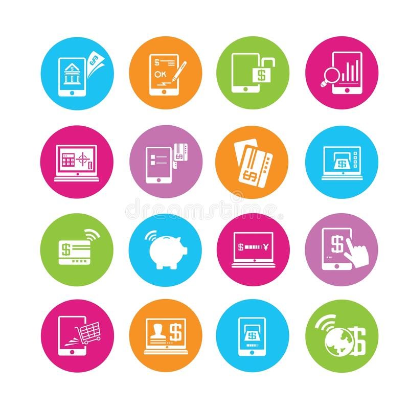 Iconos de las actividades bancarias en línea ilustración del vector