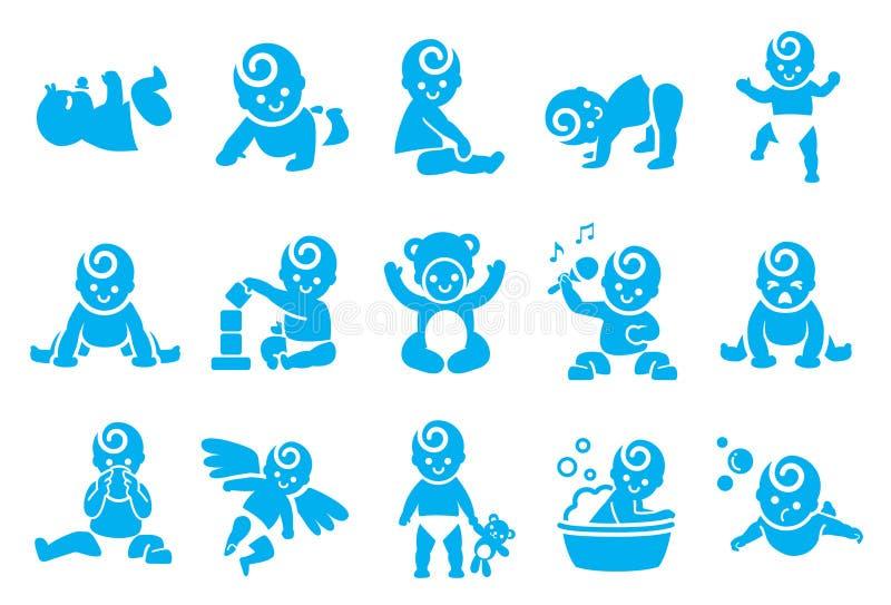 Iconos de las actividades del bebé stock de ilustración
