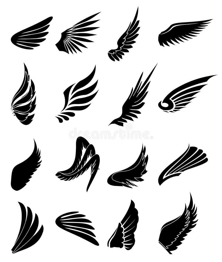 Iconos de las alas fijados ilustración del vector