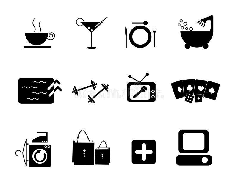 Iconos de las amenidades ilustración del vector