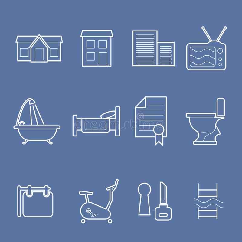 Iconos de las amenidades del alojamiento ilustración del vector