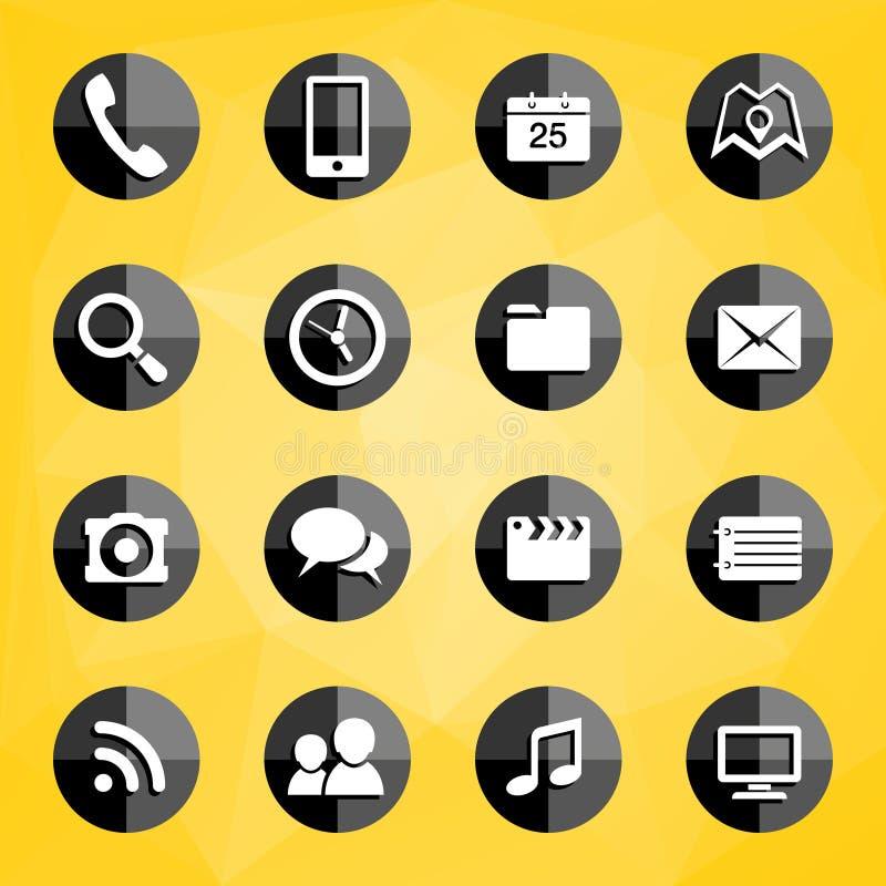 Iconos de las aplicaciones móviles stock de ilustración