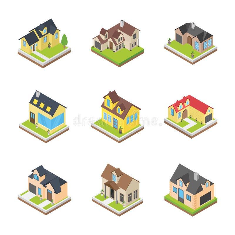 Iconos de las arquitecturas de las casas ilustración del vector
