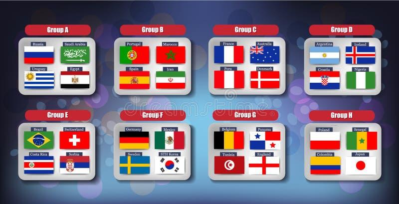 Iconos de las banderas del campeonato del fútbol del mundo del vector de los países participantes libre illustration
