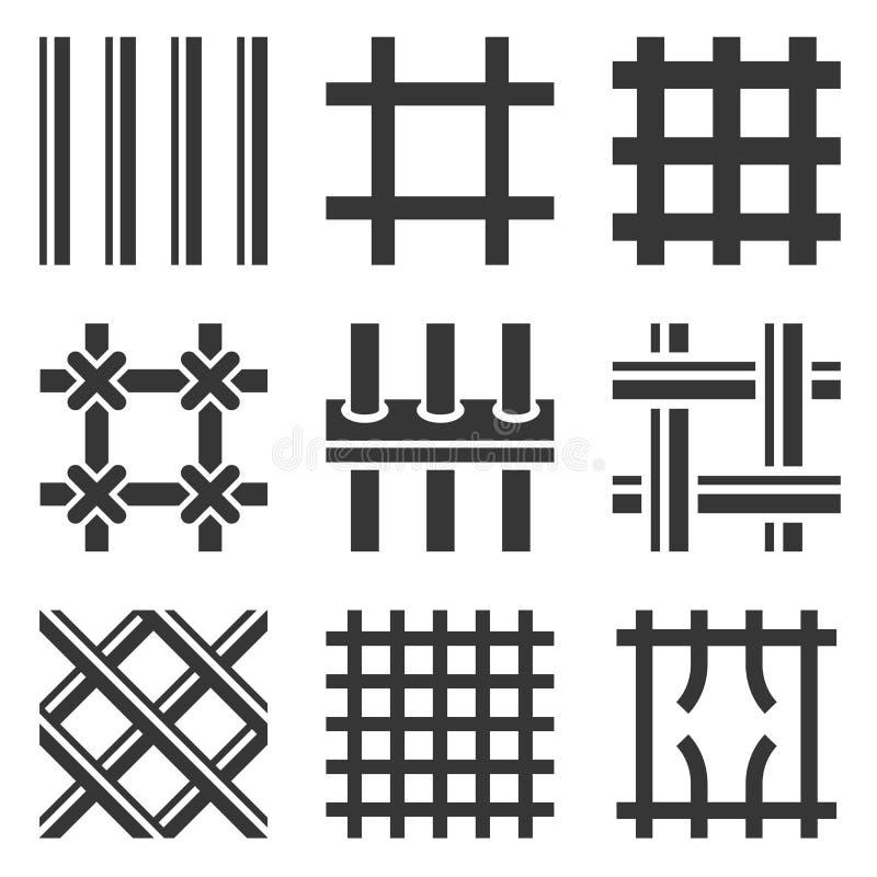 Iconos de las barras de la prisión fijados en el fondo blanco Vector ilustración del vector