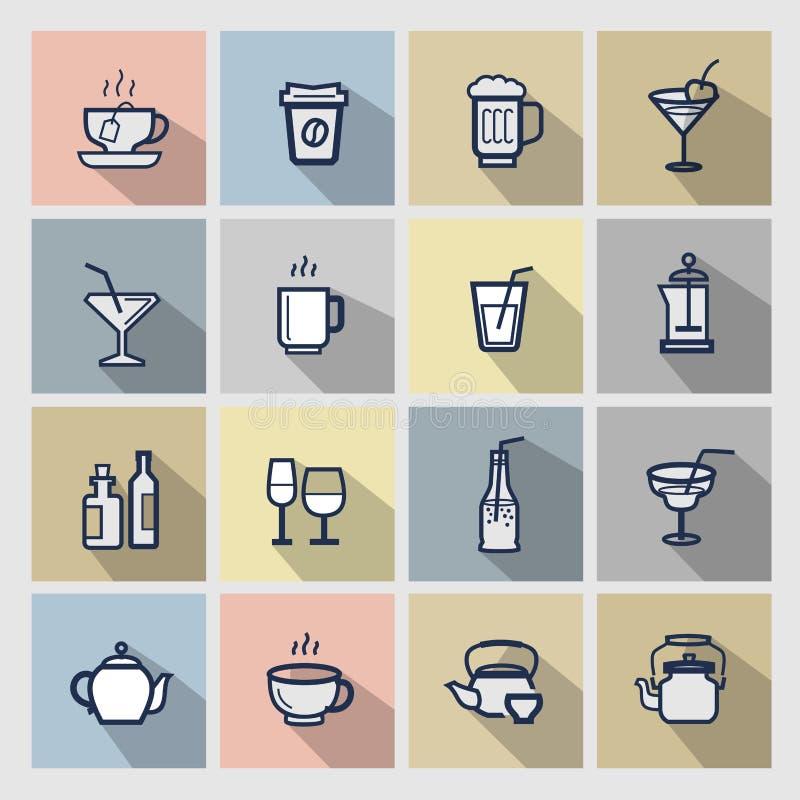 Iconos de las bebidas fijados ilustración del vector