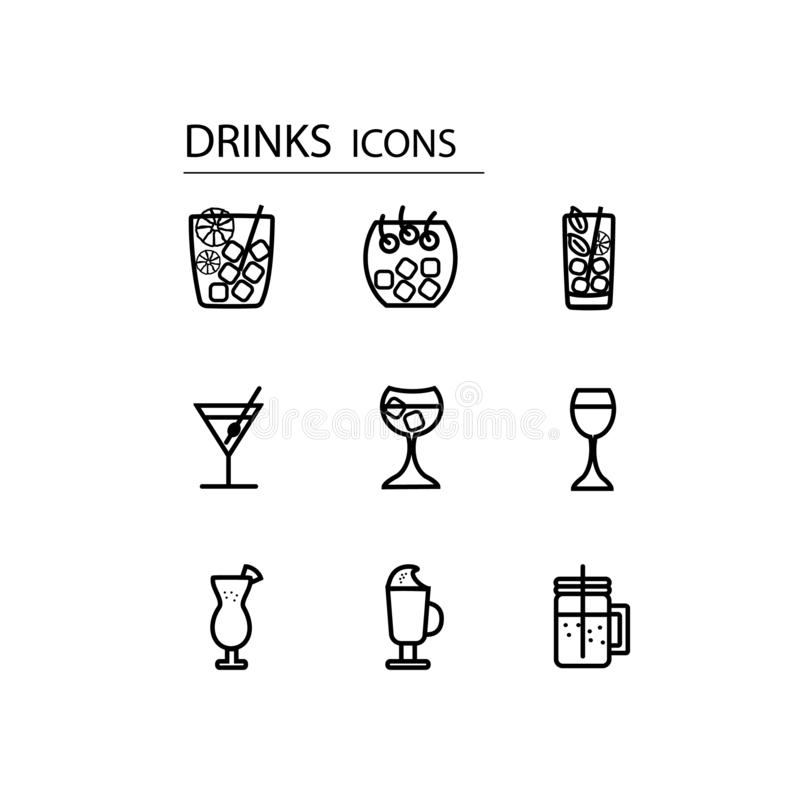 iconos de las bebidas fijados Para diverso dise?o stock de ilustración
