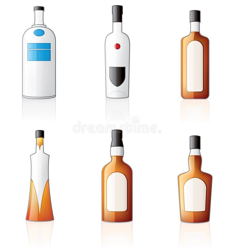 Iconos de las botellas del alcohol fijados libre illustration