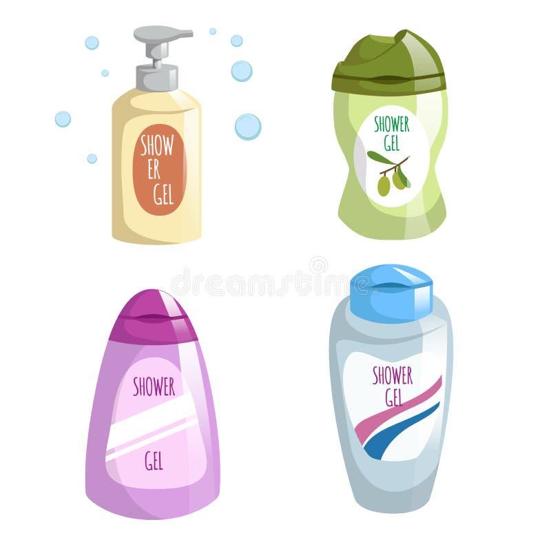 Iconos de las botellas del color del diseño de moda de la historieta diversos fijados Gel de la ducha y jabón líquido stock de ilustración