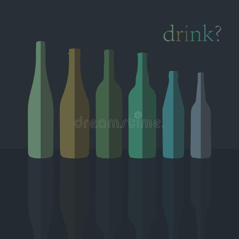 Iconos de las botellas Diseño plano Vector stock de ilustración