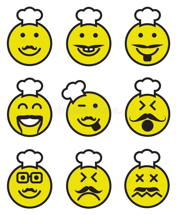 Iconos de las caras sonrientes del cocinero stock de ilustración