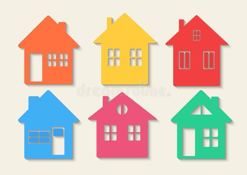 Iconos de las casas fijados Casas de las propiedades inmobiliarias?, planos para la venta o para el alquiler Concepto casero colo ilustración del vector