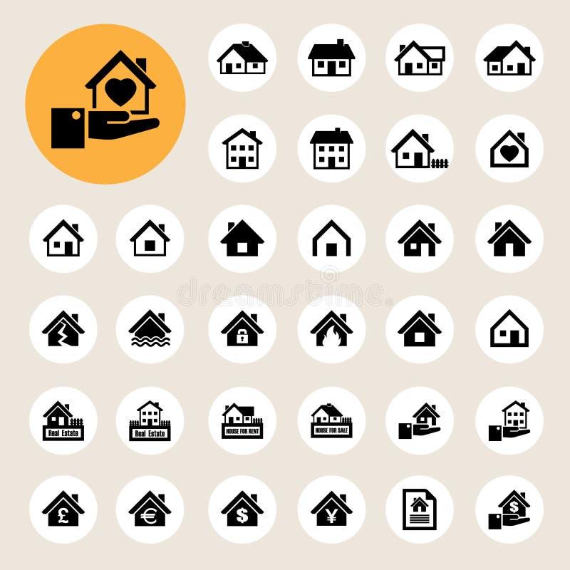 Iconos de las casas fijados. Propiedades inmobiliarias. ilustración del vector
