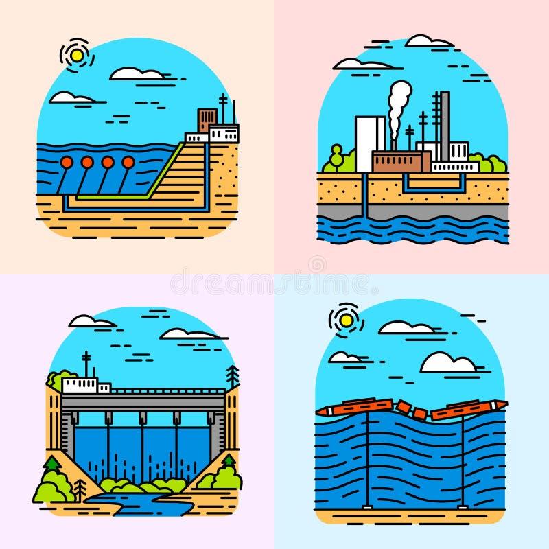 Iconos de las centrales el?ctricas Edificios industriales Fábricas nucleares, onda de marea química del viento geotérmico, solar  stock de ilustración
