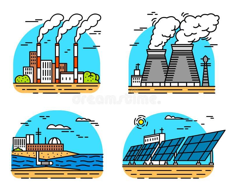 Iconos de las centrales el?ctricas Edificios industriales F?bricas nucleares, onda de marea qu?mica del viento geot?rmico, solar  ilustración del vector
