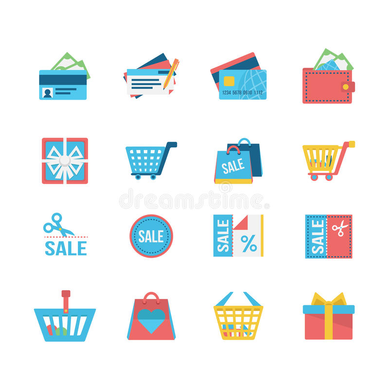 Iconos de las compras ilustración del vector