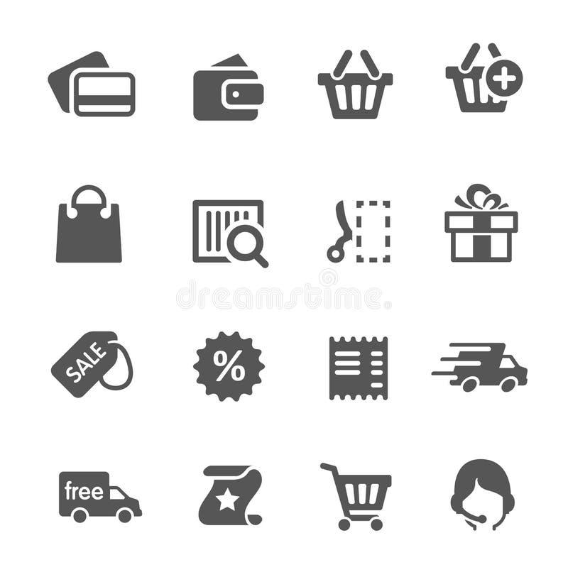 Iconos de las compras fijados. stock de ilustración