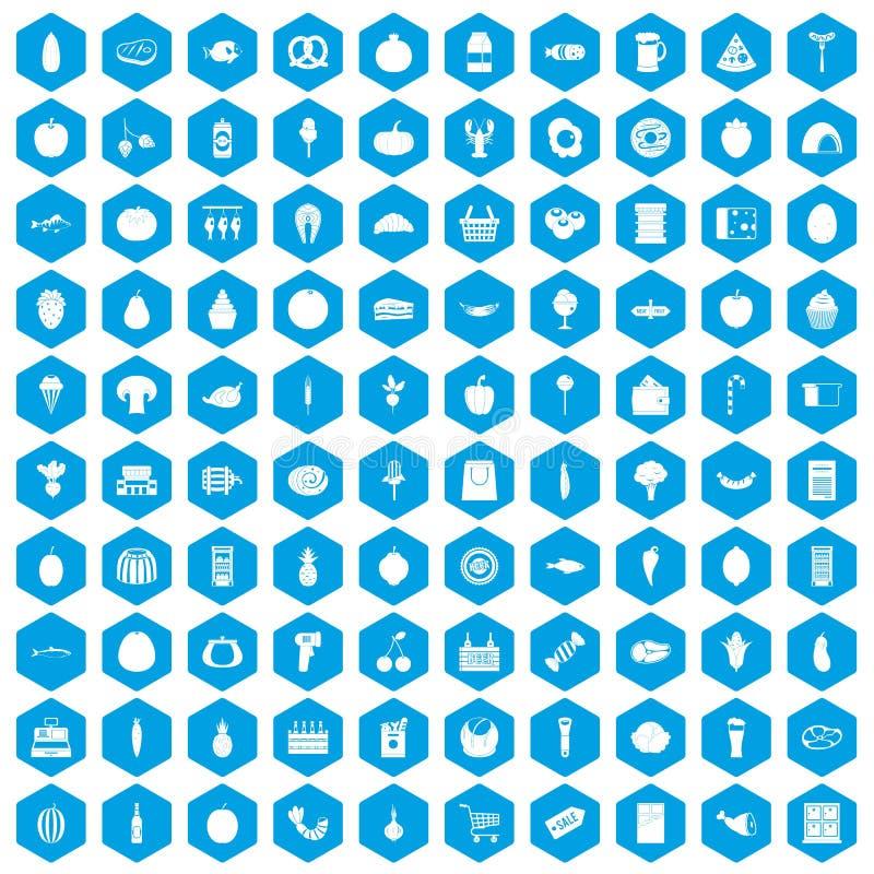 100 iconos de las compras fijados azules ilustración del vector