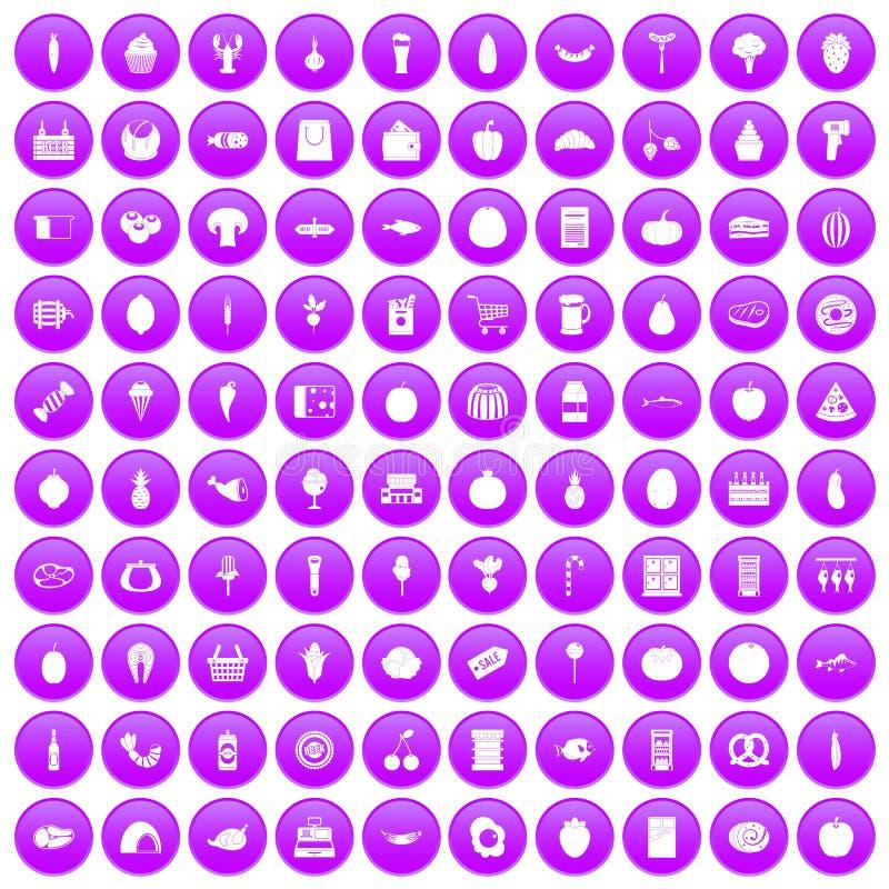100 iconos de las compras fijados púrpuras libre illustration