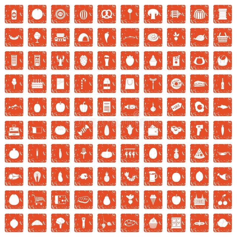 100 iconos de las compras fijaron grunge anaranjado ilustración del vector
