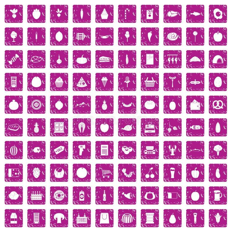100 iconos de las compras fijaron rosa del grunge libre illustration