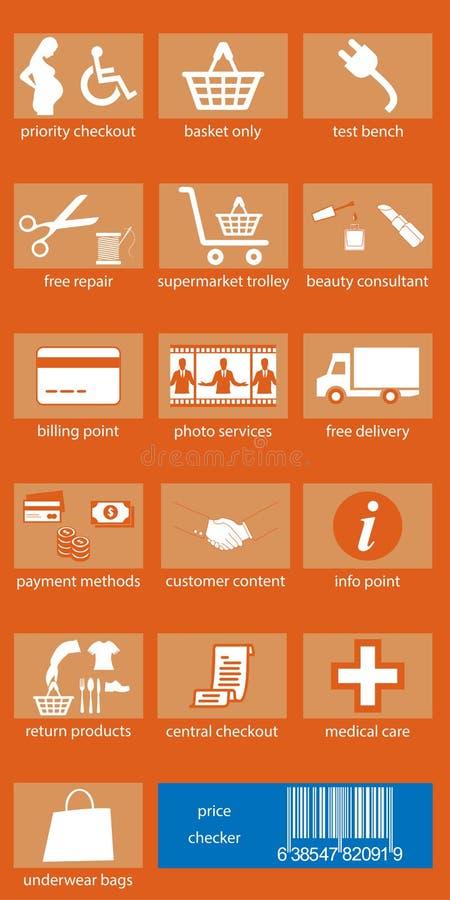 Iconos de las compras y servicios del supermercado libre illustration