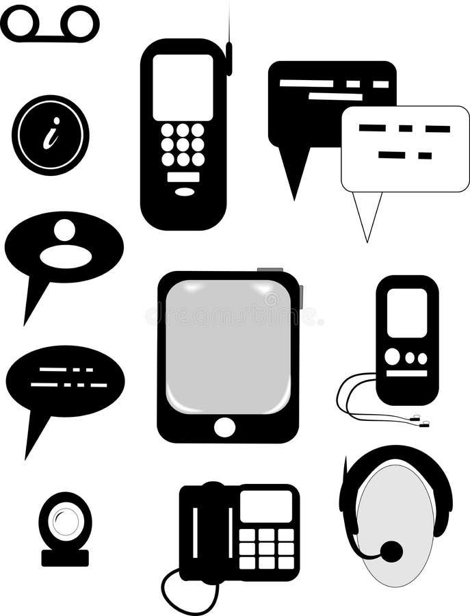 Iconos de las comunicaciones ilustración del vector